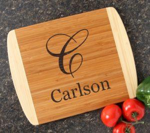 "Engraved Bamboo Cutting Board 14.5 x 11.5 Monogram alt="" Engraved Bamboo Cutting Board 14.5 x 11.5 Monogram"""