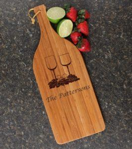 Wine Bottle Custom Engraved Cutting Board