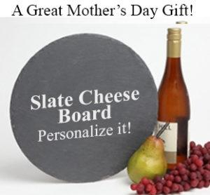 Mothers Day Gift Personalized Slate Cheese Board Round