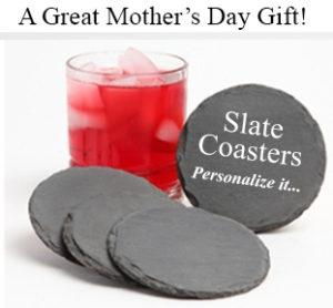 Mothers Day Gift Personalized Slate Coasters round
